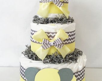 3 Tier Elephant Diaper Cake Yellow and Gray, Baby Shower Centerpiece