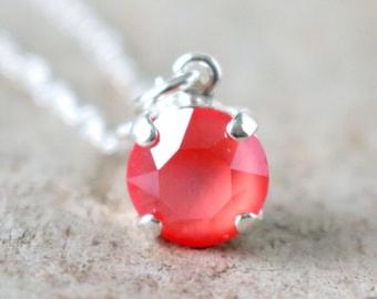Coral | Swarovski Necklace | Coral Necklace | Swarovski Crystal | Silver Necklace | Beach Wedding | Coral Wedding | Dainty Jewelry