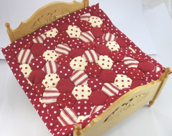 Dollhouse Miniature Patchwork Quilt in 12th Scale - Burgundy Hexagons