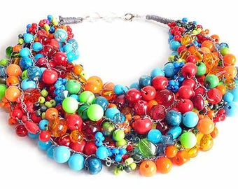 kama4you 2330 multicolor necklace crocheted