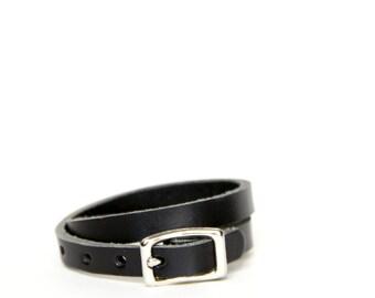 Double Wrap Basic Buckle Bracelet -- Black Leather