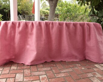Pink Burlap Pleated Tablecloth / Table ... & Pink table setting | Etsy