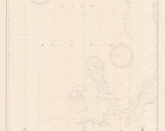 Lake Michigan Map - Chart 705 1950