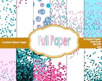 Confetti Glitter Paper-Glitter-Confetti digital paper-pink glitter-party decor-party supplies-Digital Paer Glitter