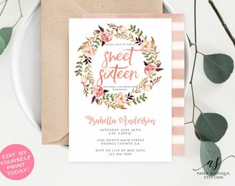 Sweet sixteen invite etsy solutioingenieria Choice Image