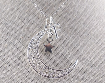 Crescent Moon Necklace Luna Necklace  Personalised Gift Letter Pendant  Initial Charm Personalised Jewelry Moon  girlfriend  gift for her