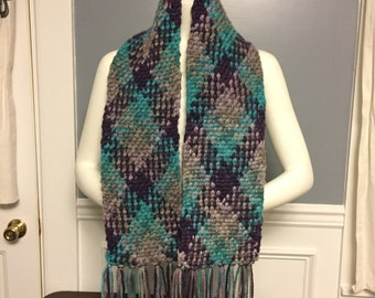 Planned Pooling Argyle Scarf with Fringe, hand-made, plaid scarf, crochet scarf