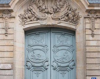 Paris Photography, Blue Door on the Left Bank, Paris Photo, Left Bank Paris, Door in Paris, Rue de Varenne, Paris Wall Art, Robins Egg Blue