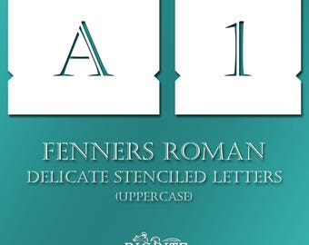 Stenciled Letters - Delicate Font Fenners UPPERCASE Alphabet Typography #071