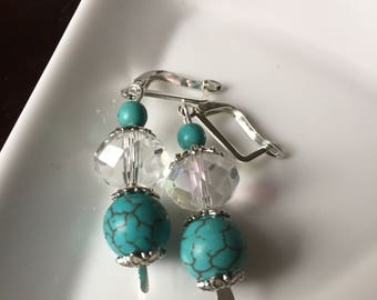 Turquoise and white crystal earrings