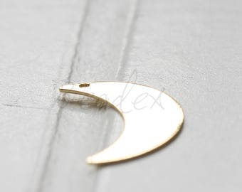 2 Pieces / Gold Plated / Real Gold / Moon / Crescent / Charm (C3593//K662)