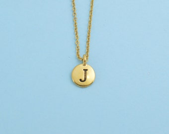 Antique Gold Plated Pewter Initial Charm Necklace.  Initial Necklace. Initial Charm. Initial Jewelry. Letter J necklace.  Letter J Jewelry.