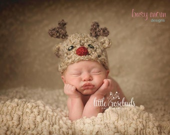 Crochet Hat PATTERN - Soft and Sweet Reindeer Hat - Preemie, Baby, Toddler, Child, Adult - Winter Christmas Rudolph Beanie