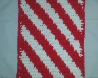 "Crochet Diagional Strip Pet/Cat/Sm Dog Carrier Mat/Blanket/Bed/Rug 12""x18"" Free Shipping"