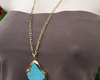 Electroplated Turquoise Howlite Necklace