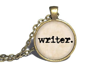 Writer Necklace, Gift for Writer, Typewriter Jewelry, Author Necklace, Writers Gift, Writing Quill, Gift for Author Writing