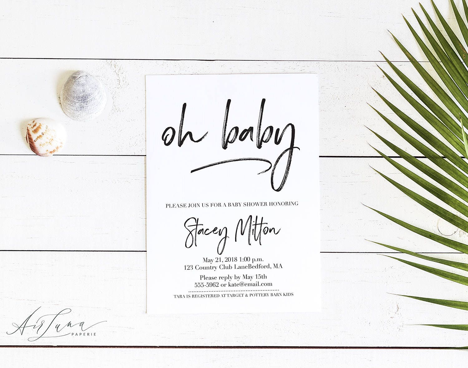 Oh Baby Invitation Elegant Baby Shower Simple Baby Shower