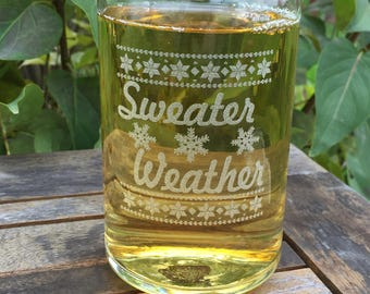 Beer Can Glass-Engraved-Christmas-Sweater Weather-Etched-Snowflakes-Winter-Gift for Men and Women-(Set of 2)