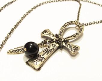 Bronze Ankh & Charm Necklace