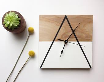 Geometric, Wooden Clock, Handmade, Wall Clock