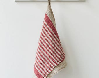 Rustic Linen Kitchen Towel with Red Stripes, Kitchen Linen, Natural Towel