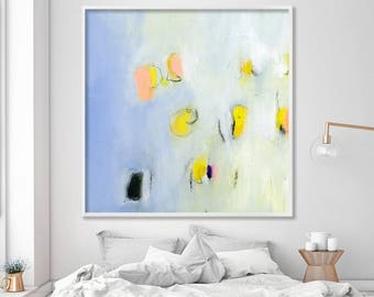 extra large GICLEE PRINT of modern Painting, Abstract Art, Acrylic Painting, light blue, yellow, pink signed by DUEALBERI