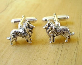 Collie Sheltie Dog Sterling Silver Cufflinks
