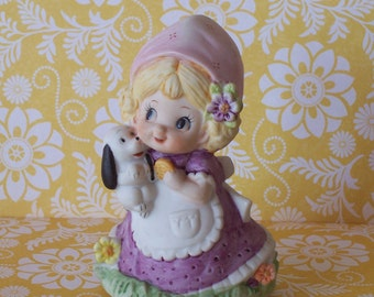SALE Adorable Little Girl with Puppy Music Box