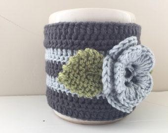 Floral coupe confortable, coupe manche, Mug Cosy, coupe confortable, manchon de tasse, Mug chaud - en Pure laine mérinos