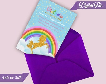 Unicorn Birthday Invitation, Magical Unicorn Invitation, Unicorn Birthday Party, Unicorn Party, Rainbow Unicorn Birthday Invitation, Digital