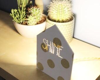 Polka dots lamp, Glitter lamp, Cottage lamp, Design lamp, Bedside table lamp, Gift for her, Wooden design lamp, Studio lamp, Gift for mom
