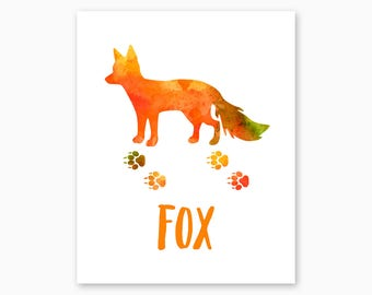 FOX POSTER, Fox Printable, Instant Download, Fox Tracks, Watercolor, Fox Nursery, Rustic Nursery, Woodland Nursery, Rustic Wall Art