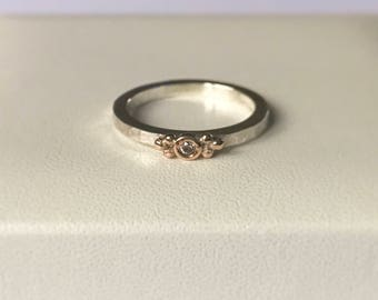 Pink Diamond ring silver stacking ring with natural pink diamond set in Rose gold Valentines