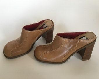 Tommy Hilfiger Camel Leather Clogs  Heel size 7