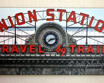 Union Station Denver Colorado Retro Neon Sign Canvas Gallery Wrap Print Fine Art Photography IN STOCK & Ready to Ship!