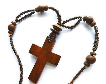 BEADED WOOD Vintage Cross Necklace, Handmade Boho Chic Cross Necklace, OOAK Necklace, Hippie Mens Cross Necklace, Brown Necklace, 1980s