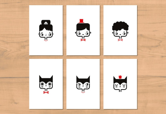 Set of six cute postcards in black and red - greeting cards - kawaii stationery - minimalist home decor for children bedroom - illustration