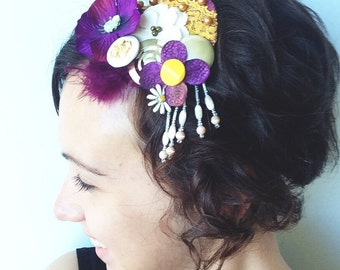 Goldenrod Yellow and Deep Purple Collage Upcycled Hair Fascinator with Feathers, Flowers, Pearls, and Vintage  Lace