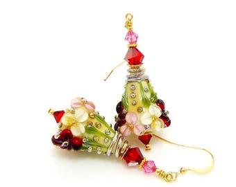 Pink Red Floral Earrings, Lampwork Earrings, Glass Earrings, Beadwork Earrings, Lampwork Jewelry, Victorian Inspired Earrings