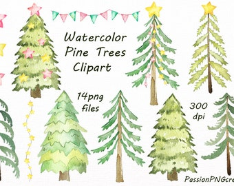 Watercolor Pine Trees Clipart, Watercolor Christmas tree clipart, Christmas Digital, PNG, Instant Download,For Personal and Commercial Use
