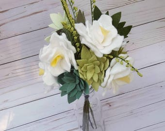 spring bouquet, spring flowers, succulent bouquet, spring wedding bouquet, felt flower bouquet, succulent wedding, spring succulents