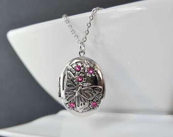 PINK Butterfly Locket Necklace, Silver Locket Pendant, Birthstone Necklace, Rose PInk Locket Pendant,  Mom Mothers Day Gift
