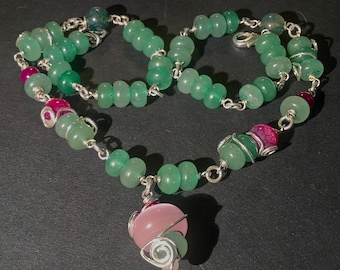 """Green Necklace with Aventurine, Agate and Glass Beads - """"Forest Sprite"""""""