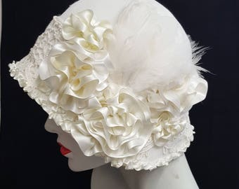 Ivory white flapper 20s art deco style cloche hat with ribbons feathers beads lace  medium -large size
