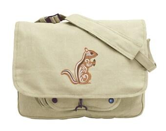 Chipmunk with Flourish Embroidered Canvas Messenger Bag