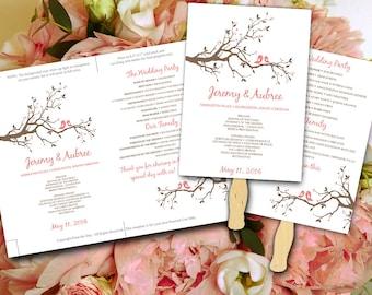 Wedding Fan Template - Love Bird Tree Branch Coral Pink Peach Brown Ceremony Program - Outdoor Wedding Program Favor Word Template