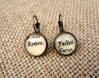 Romeo and Juliet Book Page Earrings - Shakespeare