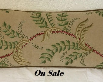 14 X 28 Decorator Lumbar Pillow Cover with Beautiful Embroidery, Invisible Zipper