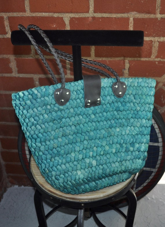 Oversized Blue Green Straw Market Bag with Leather Handles and Closure