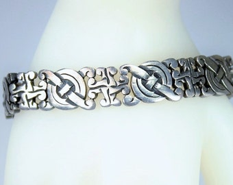 "Vintage TAXCO MEXICO 925 Sterling Silver Link Bracelet Spratling Design Pre-Columbian Style 6.5"" Closed Length c1930s"
